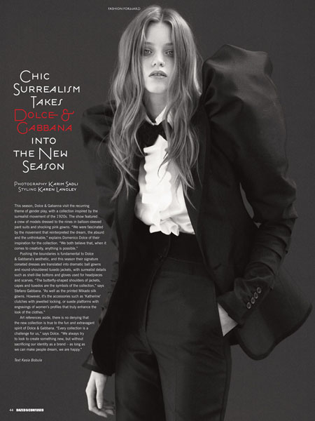 Chic Surrealism- Abbey Lee Kershaw in Dazed & Confused June 2009