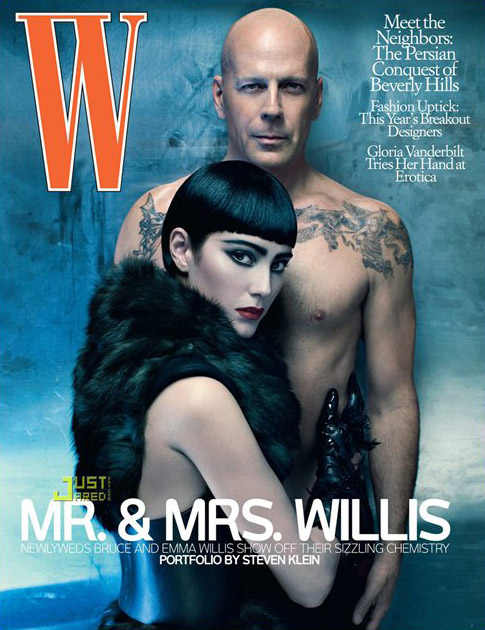 W July 2009- Bruce & Emma Willis by Steven Klein